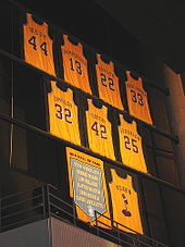Basketball Photos - Los Angeles Lakers - Lakers retired jerseys hanging in the rafters of Staples Center.