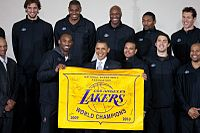 Basketball Photos - 2010 NBA Finals Men's Basketball - President Barack Obama meets with the 2010 NBA champion Los Angeles Lakers at the THEARC Boys and Girls Club in Washington