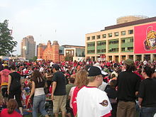 Hockey Photos - 2007 Stanley Cup Finals - Ottawa City Hall before game three of the Stanley Cup Finals