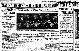 Hockey Photos - 1919 Stanley Cup Finals - Announcement of Cancellation in <i>The Globe</i>