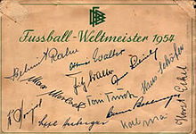 Soccer Photos - 1954 FIFA World Cup - Card autographed by coach Sepp Herberger and the 11 German players that appeared in the final