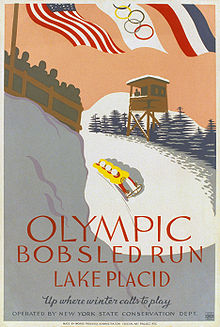 Olympics Photos - 1932 Winter Olympics - A WPA poster