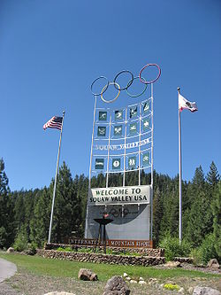 Olympics Photos - 1960 Winter Olympics - Sign outside Olympic Village at Squaw Valley