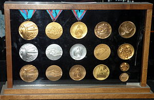 Olympics Photos - 1988 Winter Olympics - A set of medals from the Games on display at the Scotiabank Saddledome in Calgary.