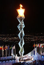 Olympics Photos - 2002 Winter Olympics - Olympic flame at Rice-Eccles Olympic Stadium during the opening ceremonies