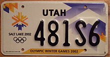 Olympics Photos - 2002 Winter Olympics - Special issue Utah license plates featuring the Olympic Emblem