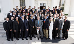 Sports Photos - 2008 NCAA Division I Men's Lacrosse Championship - The Syracuse University Orange are honored at the White House by President of the United States George W. Bush in June 2008 for the their winning the 2008 national championship.