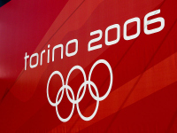 Olympics Photos - 2006 Winter Olympics - 2006 Olympics logo on display in Turin