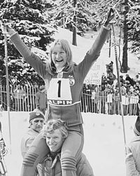 Olympics Photos - 1976 Alpine Skiing At Winter Olympics - Kathy Kreiner winning gold in Giant Slalom