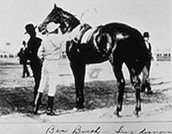 Horse Racing Photos - 1896 Kentucky Derby - Ben Brush saddling up for the 1896 Kentucky Derby