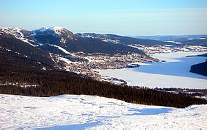 Sports Photos - 2007 FIS Alpine World Ski Championships - A view of Are Lake from the ski area.