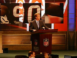Football Photos - 2009 NFL Draft - NFL commissioner Roger Goodell announcing a pick at the 2009 draft.