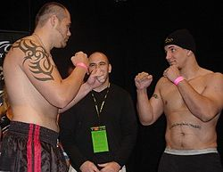 "Sports Photos - 2004 UFC 48 Payback - UFC Heavyweight Champion Tim ""The Maine-iac"" Sylvia and challenger Frank Mir Weigh-in."