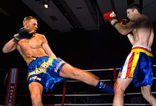 Boxing Photos - Kickboxing - Low kick (roundhouse kick)