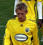 Soccer Photos - Columbus Crew - Andrew Peterson in Columbus's 2008 home jersey