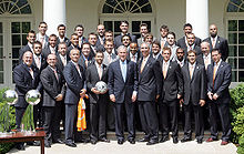 Soccer Photos - Houston Dynamo - George W. Bush and the 2007 Dynamo squad after the second MLS Cup victory