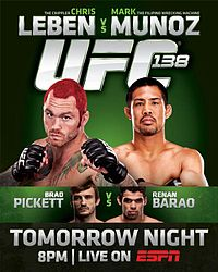 Sports Photos - 2011 UFC 138 Leben Vs. Munoz - A poster or logo for UFC 138: Leben vs. Muñoz.