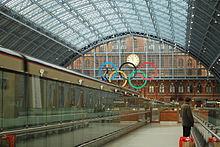 Olympics Photos - 2012 Summer Olympics - Olympic rings at St Pancras Station