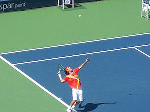 Tennis Photos - 2007 US Open (Tennis) - Marcos Baghdatis serving at the 2007 US Open