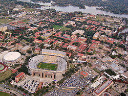 College Football Photos - LSU - LSU's campus with Tiger Stadium and the PMAC in the foreground