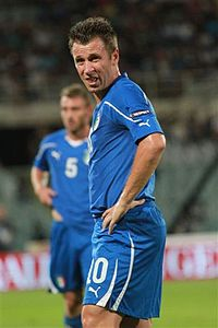Soccer Photos - Antonio Cassano - Cassano with the Italian team