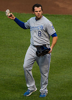 Baseball Photos - Mike Moustakas - Mike Moustakas on May 25, 2012
