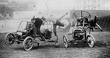 Motorsports Photos - Auto Polo - Auto polo match in the 1910s. Malletmen were often thrown from the cars during matches.