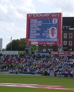 Sports Photos - Andrew Flintoff - The screen display at The Oval as Flintoff comes to the wicket for his penultimate Test innings