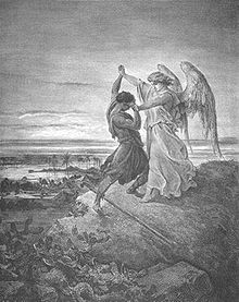 Sports Photos - Wrestling - Jacob Wrestling with the Angel illustration by Gustave Doré (1855)