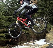 Sports Photos - Mountain Biking - Typical more stout all-mountain bike on rough terrain
