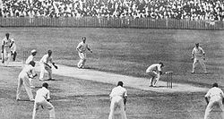 Sports Photos - England Cricket Team - Bill Woodfull evades a Bodyline ball. Note the number of leg-side fielders.