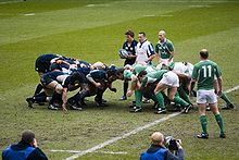 Sports Photos - Ireland National Rugby Union Team - Ireland scrum against Scotland during the 2007 Six Nations Championship.
