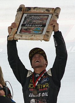 Motorsports Photos - Brian Deegan (Rider) - Deegan in 2011 after winning the Pro Light class at the 2011 Off-Road racing World Championships.