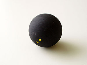 Sports Photos - Squash (Sport) - A double-yellow dot squash ball.