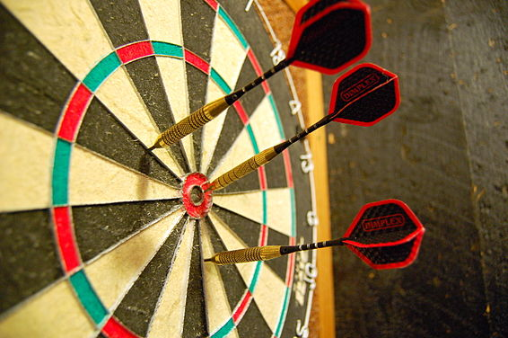 Sports Photos - Darts - Darts in a dartboard