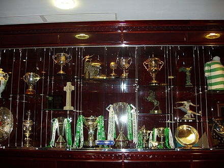 Soccer Photos - Celtic F.C. - Trophy case at Celtic Park