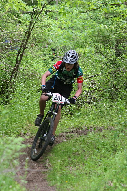 Sports Photos - Mountain Bike Racing - A rider during a Cross-country race