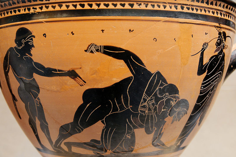 Sports Photos - Pankration - Pankratiasts fighting under the eyes of a trainer and an onlooker. Side A of an Attic black-figure skyphos