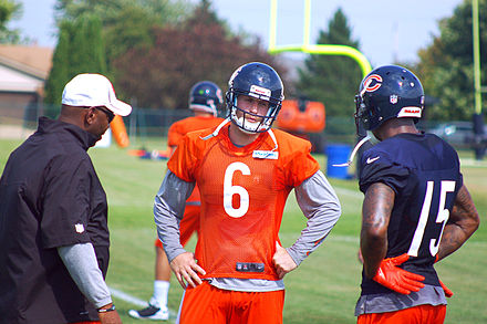 Football Photos - Brandon Marshall - Marshall (right) talking with Bears quarterback and teammate Jay Cutler during training camp.