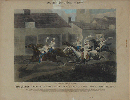 "Horse Racing Photos - Steeplechase - ""The lads from the village"" - the first recorded steeplechase 1830"