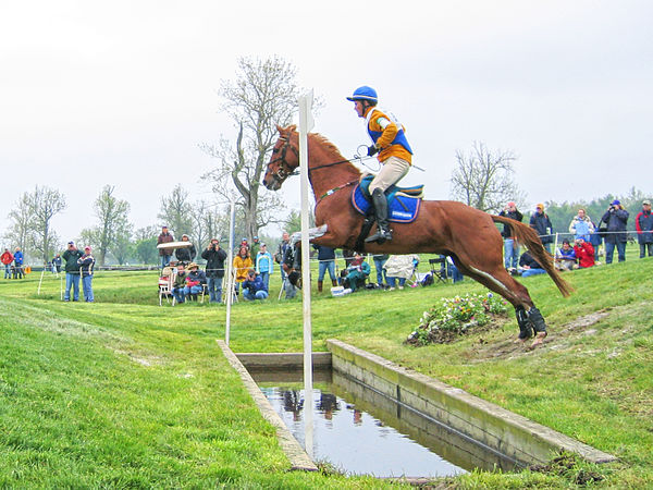 Horse Racing Photos - Cross-Country Equestrianism - Horse and rider negotiating the ditch element of a coffin
