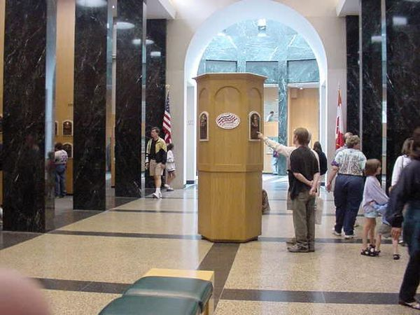 Baseball Photos - Baseball Hall Of Fame - Plaque Gallery in 2001. The central pillar is for the newest (2000) inductees at the time.