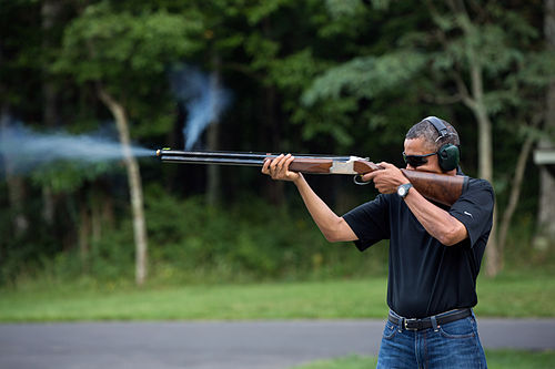 Sports Photos - Clay Pigeon Shooting - U.S. President Barack Obama skeet shooting at Camp David, August 2012