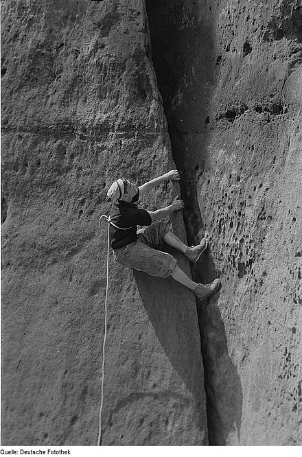Sports Photos - Rock Climbing - Climbing in Germany, circa 1965. Note the lack of intermediate protection points and the potentially deadly tie-in method, which demonstrate the maxim of the day: The leader must not fall.