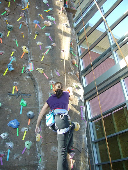 Sports Photos - Rock Climbing - An indoor climbing wall.