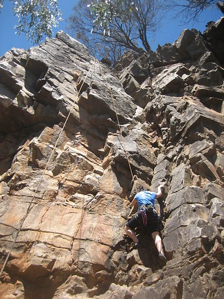 Sports Photos - Rock Climbing - Top roping Balthazar (12), in the Morialta Conservation Park near Adelaide, South Australia. Top roping is the most accessible style of climbing for beginners.