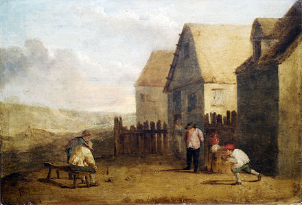 Sports Photos - Bowling - Peasants bowling in front of a tavern in the 17th century