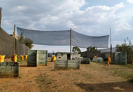 "Sports Photos - Paintball - A non-commercial, community paintball field with wooden structures in Mexico, which is used in playing ""renegade"" or ""gotcha"" paintball."
