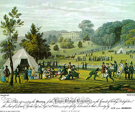 "Sports Photos - Archery - A print of the 1822 meeting of the ""Royal British Bowmen"" archery club."