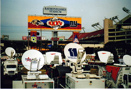 Football Photos - 2001 Super Bowl - The broadcasting compound at Super Bowl XXXV
